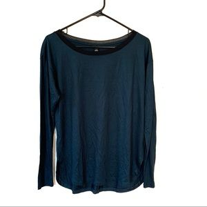 Ann Taylor Forest Green Mesh Neck L/S Tee S